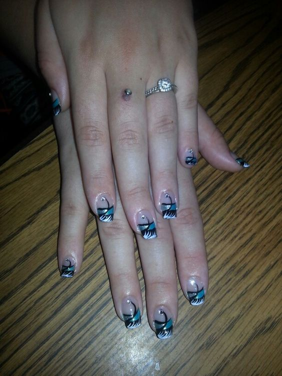 Rhinestones black blue white French tip black nail designs art