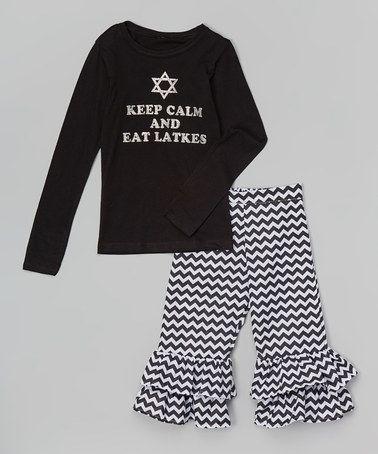 Loving this Black 'Eat Latkes' Tee & Ruffle Pants - Infant, Toddler & Girls on #zulily! #zulilyfinds