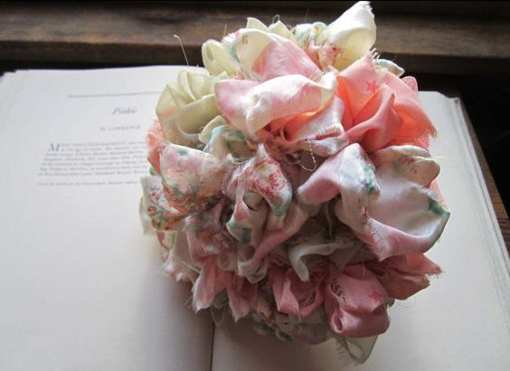 Vintage Fabric Flower Bouquet Bridesmaid Bouquet Flower por bedouin, $35.00