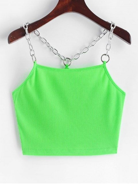 Women Crop Top One Shoulder Buckles Short Tank Tops Cropped Neon Streetwear V BC
