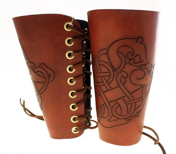Viking stylized animal thick leather men's bracers