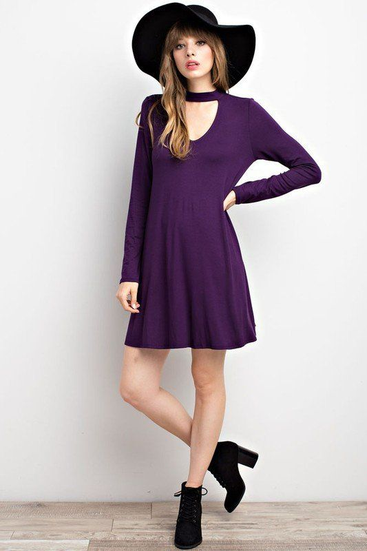 Long Sleeve Choker Dress in Purple
