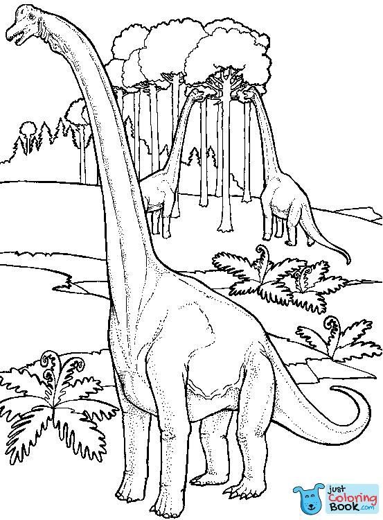 Brachiosauruses Near Tree Coloring Page Dinosaur Coloring Pages