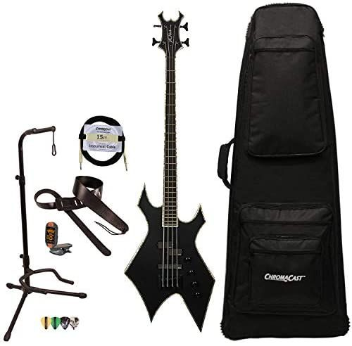 Bc Rich Guitars Warlock Extreme Chris Kael Warlock Electric Bass Guitar With Case Strap And Stand Satin Black Electric Bass Guitar Stand Guitar Cable