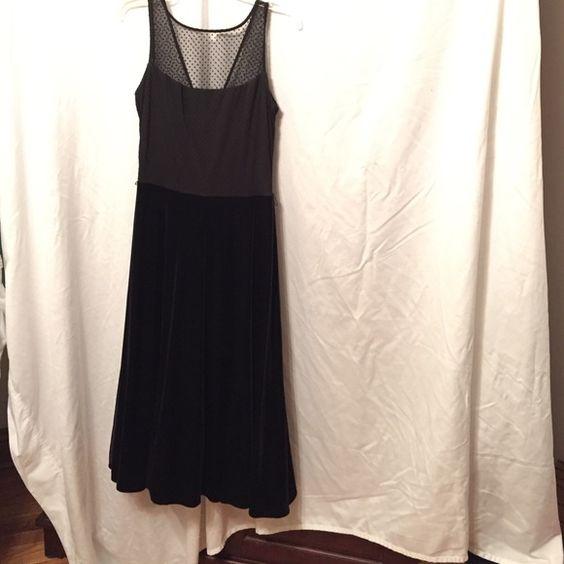 Tea length dress Black sleeveless dress  sheer upper area. Velour skirt area with netting for some fullness. Never worn Dresses