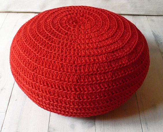 Red crochet floor cushion