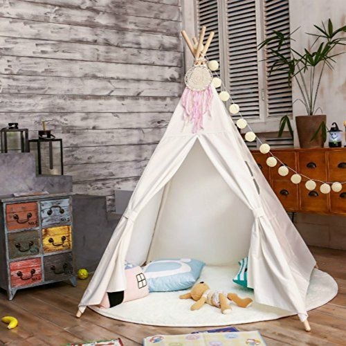 LoveTree Portable Kids Cotton Canvas Teepee Indina Play Tent Playhouse - Class White One Window Style: