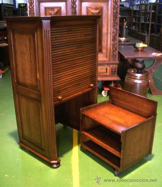 Despacho escritorio buro secreter de persiana para for Sillas para escritorio de madera