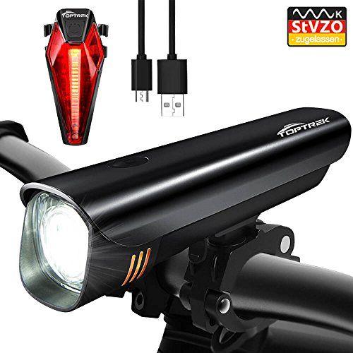 LED Fahrradbeleuchtung Set AKKU Fahrradlampe Fahrradlicht USB Rücklicht Stvzo DE