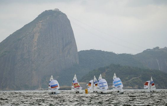 Sailors compete in the Men's Two Person Dinghy Sailing Preliminary.