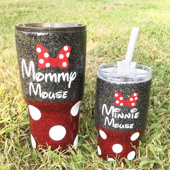 Mommy & Me Minnie Glitter Tumbler Set