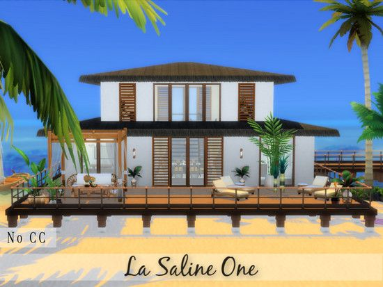 La Saline One Is A Breezy Relaxing Comfortable Beach Home For A Small Family Built In Sulani Found In Tsr Catego In 2020 Luxury Beach House Sims House Plans Sims 4