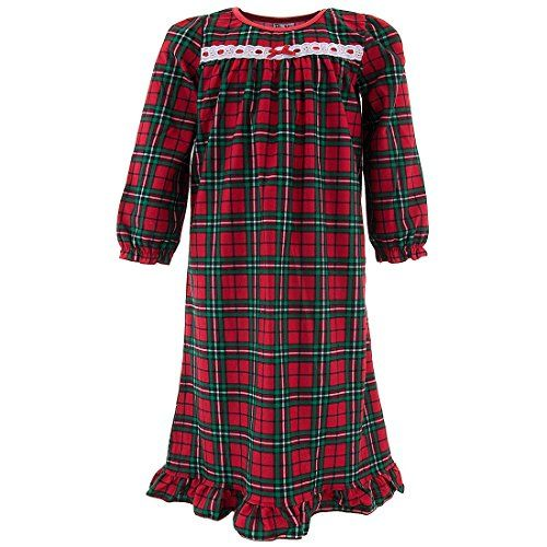 PJ & Me Little Girls' Red Plaid Holiday Nightgown 4. Classic holiday print. Long Sleeves. Red plaid, perfect for Christmas. 100% polyester. Flame resistant.