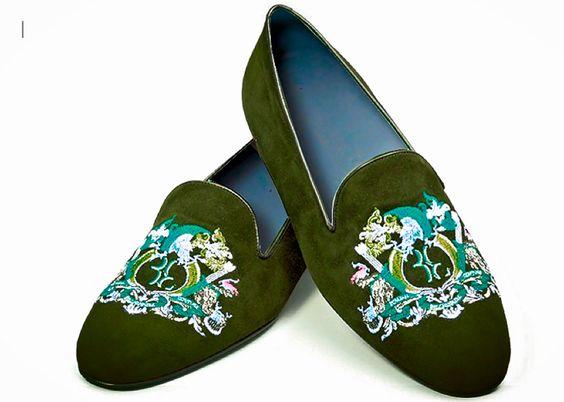 monogrammed velvet slippers