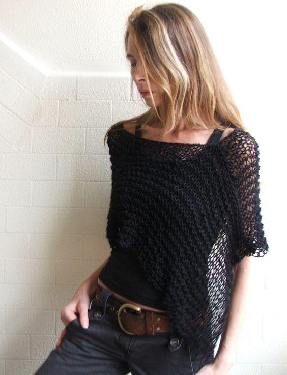 poncho negro poncho de algodón negro mujer PONCHO por ileaiye