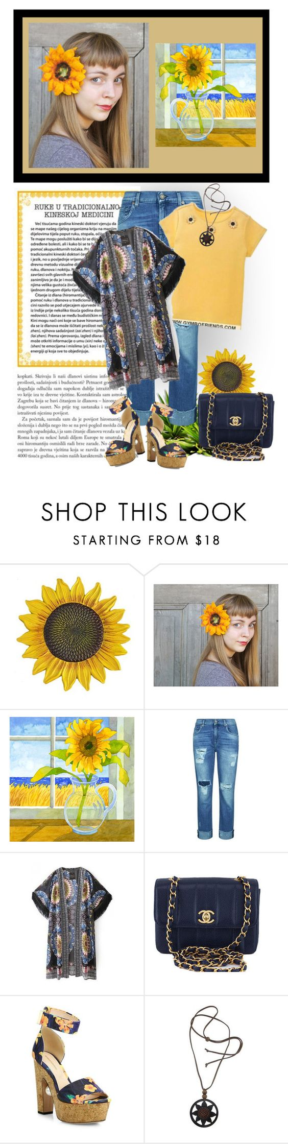 """Sunflowers in your Hair v2"" by jennifertrimble ❤ liked on Polyvore featuring 7 For All Mankind, Chanel, Nicholas Kirkwood and NOVICA"