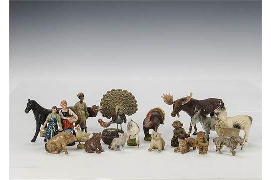 Elastolin and similar composition animals: including robin on nest, elk, llama, donkey, turkey, p