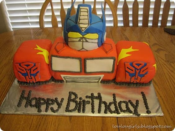 Transformers cake for boy's birthday party. Plus a link to show How to Make Marshmallow Fondant for Cake Decorating.