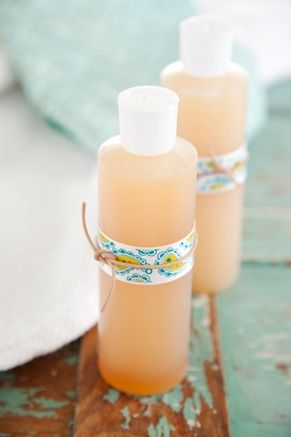 DIY Bath Oil  1 cup light olive oil  1/2 cup honey 1/2 cup liquid hand soap  1 tablespoon vanilla extract  In a medium bowl, add the oil and slowly stir in the remaining ingredients until fully incorporated. Pour mixture a clean plastic bottle w/squeeze top. Shake gently before using.
