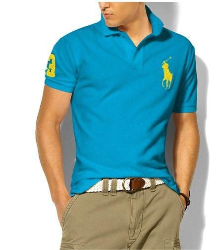 Ralph Lauren Men\u0026#39;s Classic Slim-Fit Big Pony Short Sleeve Polo Shirt Tron Blue /