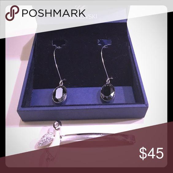 authentic swarovski black crystal earring angel authentic black crystal