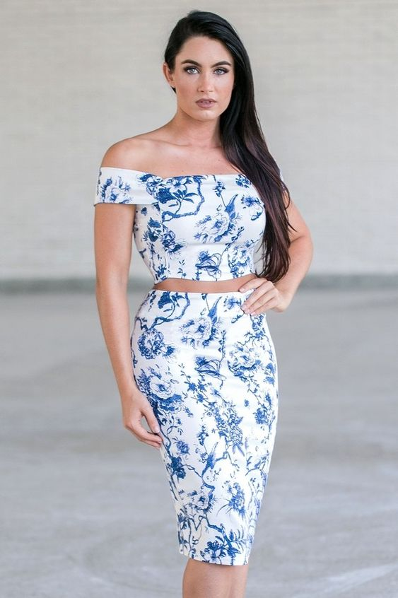 Immerse yourself in the movie scene in this gorgeous floral two piece set! The French Film Blue Floral Two Piece Set is unlined. Nude…