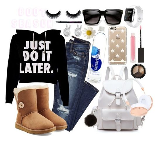 """""""Boot seasons here!!"""" by bee-farrell on Polyvore featuring UGG Australia, Adrienne Landau, MAKE UP STORE, Rock 'N Rose, Frends, Barry M, Casetify, Winter, Boots and nike"""