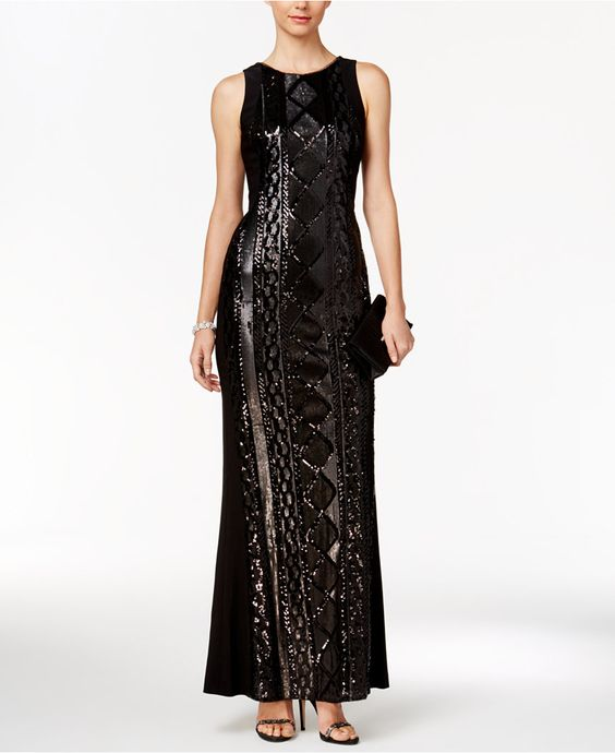 Adrianna Papell Geometric Sequin Gown - Dresses - Women - Macy's