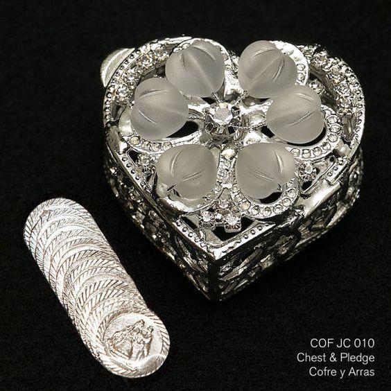Plata plateado corazón en forma de pecho de Arras w/Heart cristales - COFJC010-Arras de Boda-Arras de Matrimonio-unidad moneda titular-caja de moneda de la boda