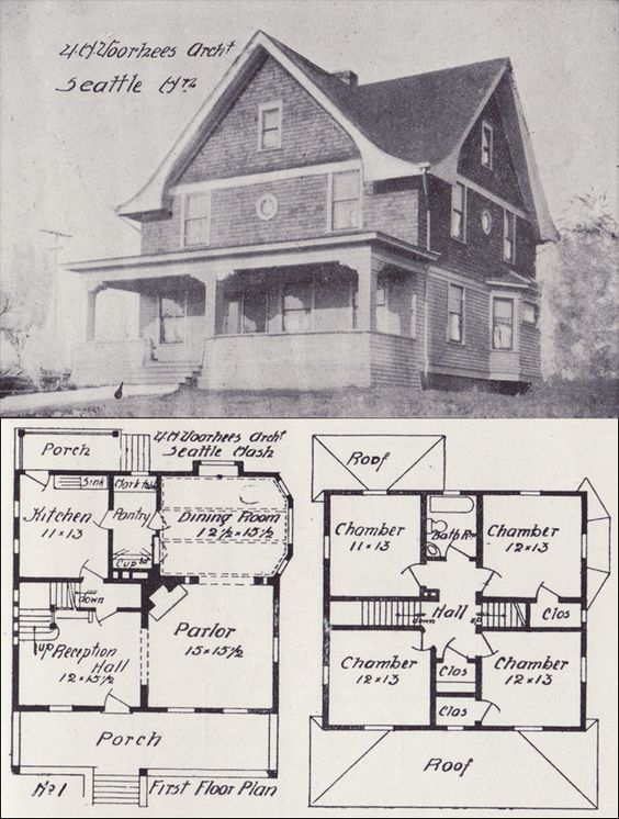 1908 eclectic plan voorhees architecture pinterest for Western homes floor plans