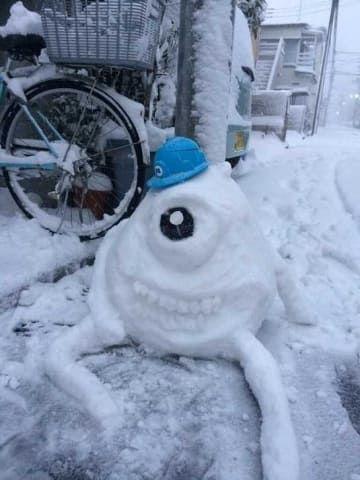 monster inc. snow sculpture #snowSculpture #snow #winter #sculpture #cartoon