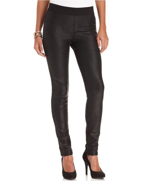 Karen Kane Black Faux Leather Leggings - Pants - Women - Macy's ...