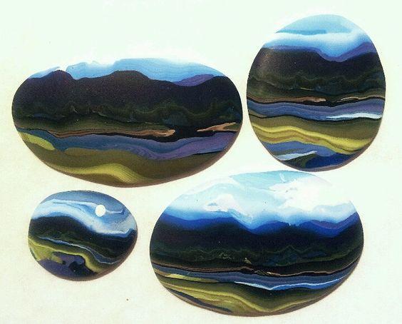 Polymer clay landscape cabachons by Jayne Dwyer