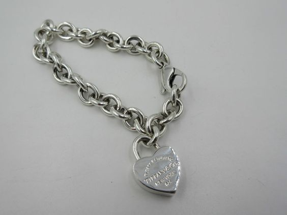 "RARE Tiffany & Co Sterling Silver Return to Tiffany Heart Padlock Bracelet 7"""