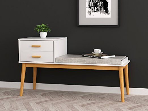 White Natural Finish Entryway Storage Bench Solid Wood Legs With Fabric Seat And 2 Drawers Storage Bench Seating Dinning Room Decor Entryway Bench Storage