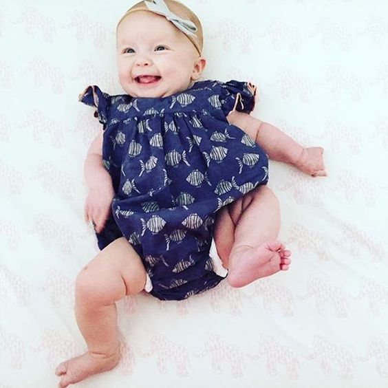 Can you even handle it—this is too #cute for words! This baby girl has great taste in clothes! P.S. Find our fish-print romper on sale now at margheritakids.com! //  #margheritakids #kidsinmargherita #babystyle #regram from @lilies.and.lambs