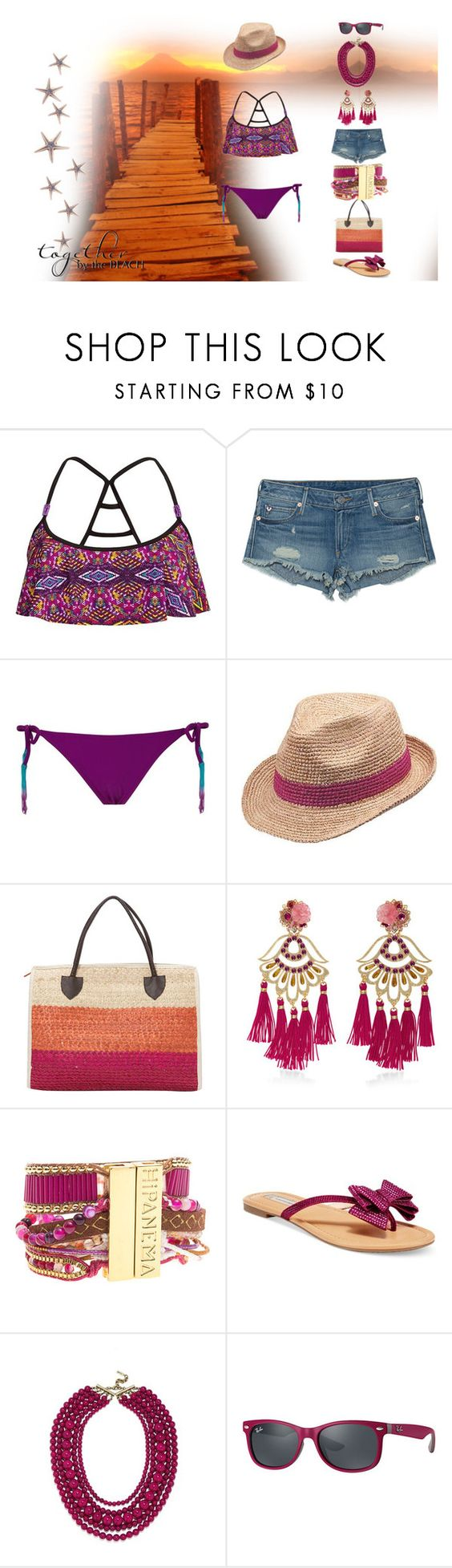 """""""Beach"""" by lulochka ❤ liked on Polyvore featuring The Bikini Lab, True Religion, Peter Grimm, TLC&you, Mercedes Salazar, Hipanema, INC International Concepts, BaubleBar and Ray-Ban"""