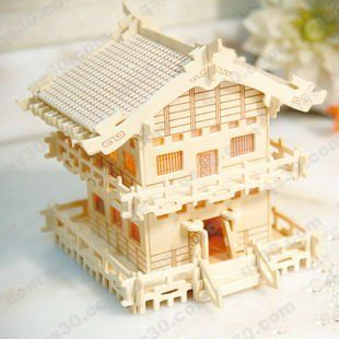 124 3d puzzle model miniature doll house34pcs furniture play house toy cheap wooden dollhouse furniture