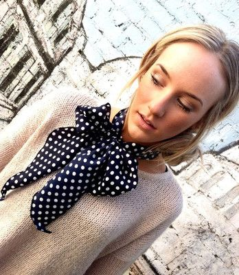LOVE! I need to make one! Neck Bow Scarflette - Ascot Tie Scarf - Black Polka Dot Women's Fashion Ascot Thin Scarf Lady Tie - Bow Tie Collar or Head wrap
