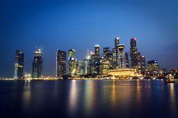 Malásia, Singapura, Malásia, Singapura, a cidade-estado, metrópole, arranha-céus, noite, luzes