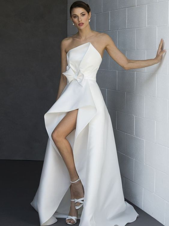 Valentini Spose Spring 2020 Bridal Collection strapless asymmetrical wedding dress
