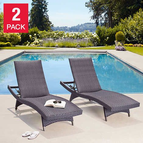 Palm Aire Woven Padded 2 Pack Chaise, Chaise Lounge Chairs Outdoor Costco