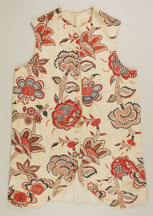 Waistcoat  Date: 1770–90 Culture: French Medium: cotton Dimensions: Length: 27 3/4 in. (70.5 cm) Width: 20 1/2 in. (52.1 cm) Credit Line: Rogers Fund, 1935 Accession Number: 35.142: