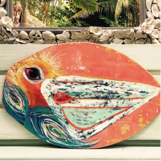 Black Friday special 15% off!! Merry Merry! This one of a kind original is done on a retired Skim Board!! It makes me happy just to look at it! Vibrant color and cheer adorn this bird of the sea!! Helping preserve a beach necessity the