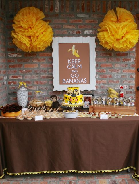 Monkey party with dessert table #monkey #party