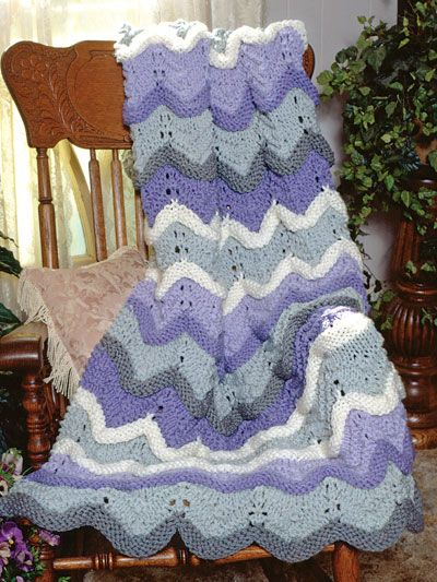 Free Knitted Afghan Patterns On Pinterest : Sherbet Ripple Afghan Free Knitting Pattern Download ...