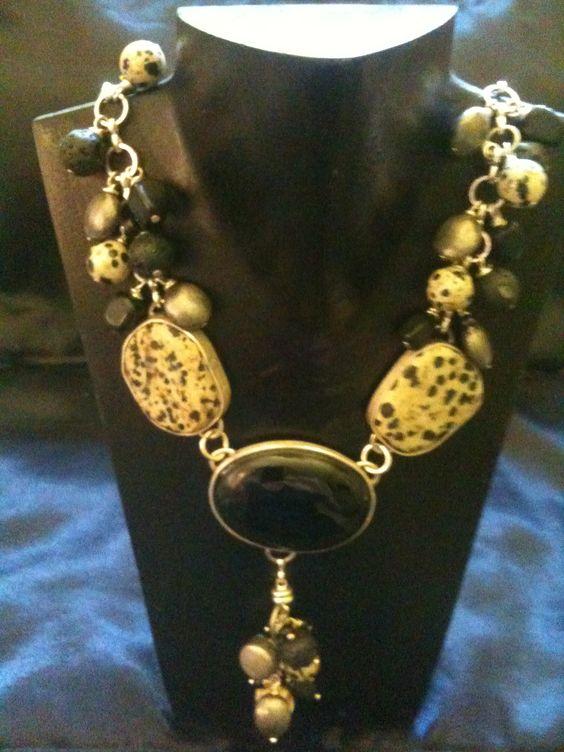 Dalmation Jasper and Onyx Necklace