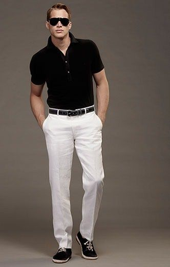 white pants and black shoes - Pi Pants