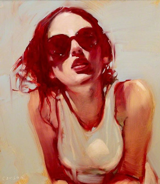 Michael Carson (b. 1972), oil on canvas {figurative art beautiful female head sunglasses red woman face portrait painting}