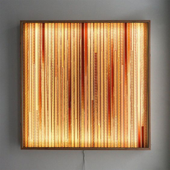 Wall Lamps Drawing : Large LIGHTBOX 25 - Vintage 16mm Filmstrip Collage on Acrylic - Wall Art Lamp - LED Lighting ...